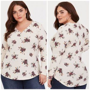 Torrid Floral Cream Waffle Knit Thermal Top